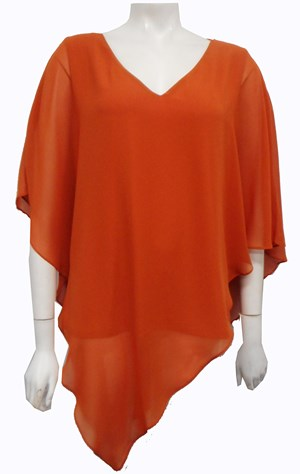 Belinda Chiffon Angled Top With Soft Knit Lining - Curry