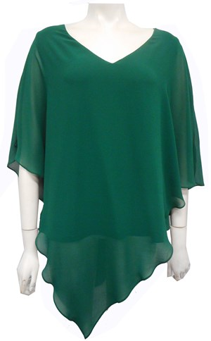 Belinda Chiffon Angled Top With Soft Knit Lining - Pine Green