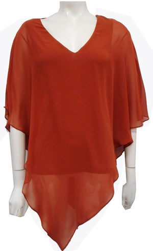 Belinda Chiffon Angled Top With Soft Knit Lining -Rust