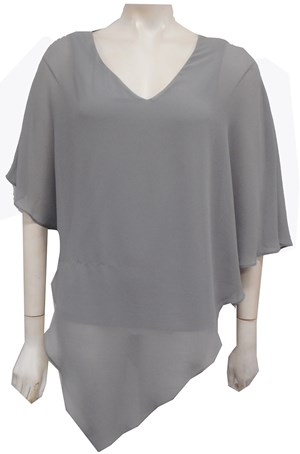 Belinda Chiffon Angled Top With Soft Knit Lining - Silver