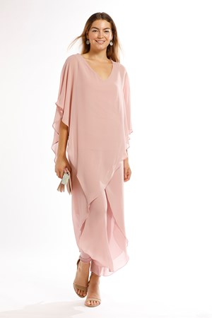 Belinda Chiffon Angled Top With Soft Knit Lining -Blush