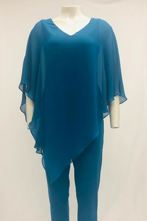 Belinda Chiffon Angled Top With Soft Knit Lining - Sea Green
