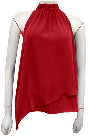LIMITED RED - Alana Chiffon high neck top