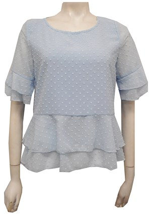 Jodie Dobby Chiffon Layered Top - Blue