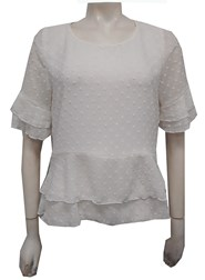 Jodie Bubble Dobby Chiffon Layered Top WHITE