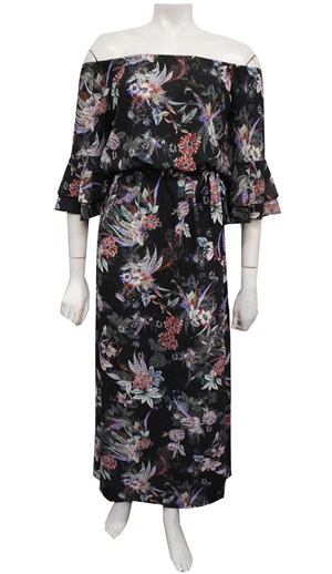 FLORAL - Kelsea frill maxi dress