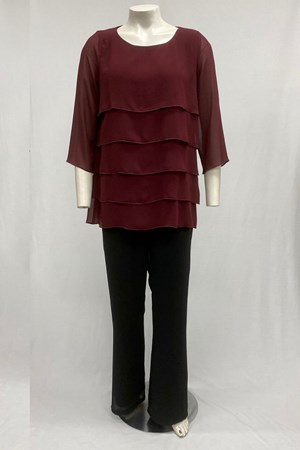 Shirley Chiffon Layered Top With Jersey Lining- Port