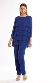 Chiffon Layered Top With Jersey Lining- Royal