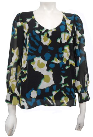 GREEN - Melanie Chiffon Print Blouse with Soft Knit underneath