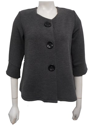 Emma Textured Stretch Knit Jacket - Charcoal/Black