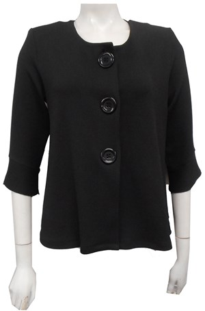 Emma Textured Stretch Knit Jacket - Black