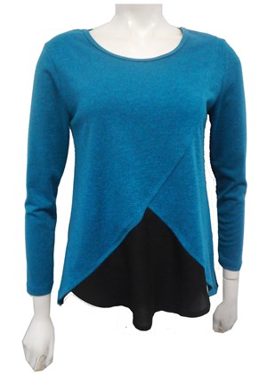 TEAL - Caroline 2 tone knit top