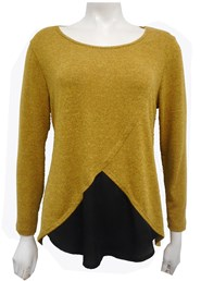 COMING SOON - MUSTARD - Caroline 2 tone knit top