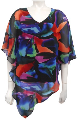 Ruby Printed Chiffon Overlay Top - Bright