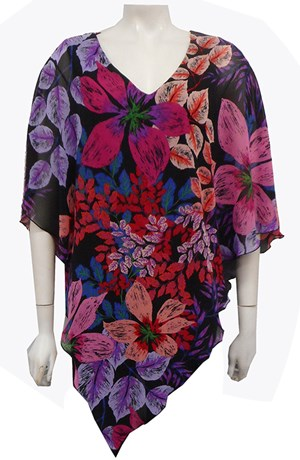 Ruby Printed Chiffon Overlay Top -Floral