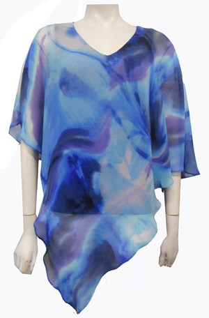 LIMITED STOCK - PRINT 222 - Ruby printed chiffon overlay top