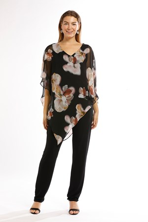 COMING SOON - FLORAL - Ruby printed chiffon overlay top