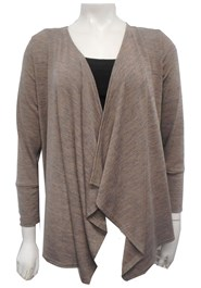 BEIGE - Woolly knit waterfall jacket
