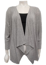 GREY - Woolly knit waterfall jacket