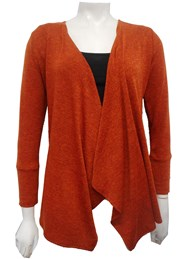 RUST - Woolly knit waterfall jacket