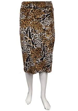 Animal print velour skirt