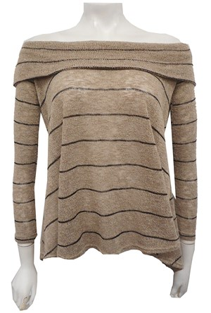 BEIGE - Piper hi low stripe knit top
