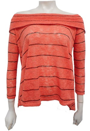 PEACH - Piper hi low stripe knit top