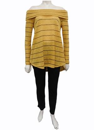MUSTARD - Piper hi low stripe knit top