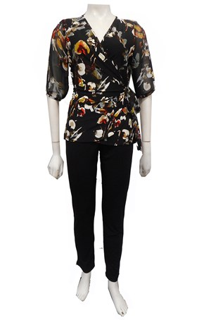 BLACK - Faith knit/chiffon tie blouse