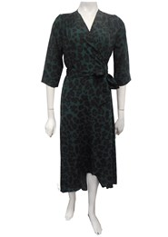 GREEN ANIMAL - Kay hi lo wrap dress