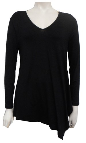 Kay Silky Knit Angle Tunic BLACK
