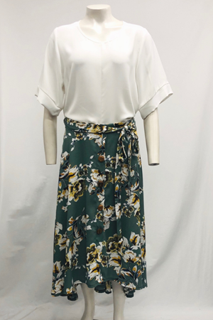 April Hi-Low Button Through Floral Crepe Skirt