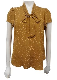 Megan Heavy Chiffon Spot Blouse with Tie Neck