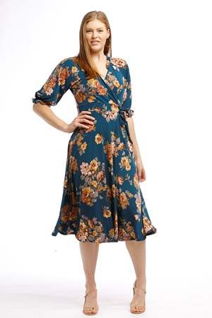 Soft Knit Wrap Faux Dress FLORAL