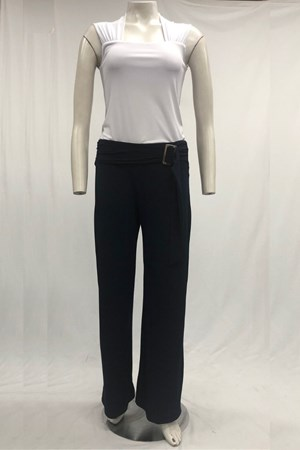 Cassey Soft Knit Buckle Pants -Navy