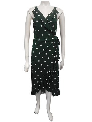 Soft Knit Ruffle Wrap Spot Dress