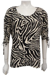 Rachel Printed Soft Knit Ruched Sleeve Top