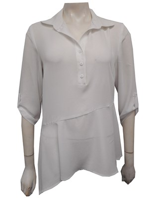 LIMITED STOCK - Wendy Heavyweight Chiffon Collared Top With Button & Tab Detail- White