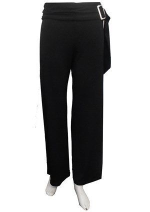 Cassey Soft Knit Buckle Pants -Black