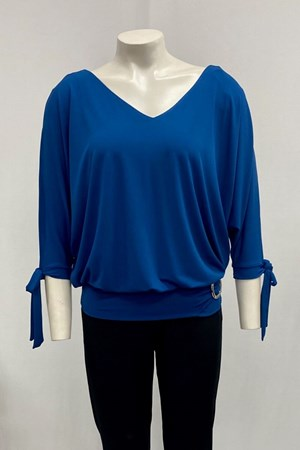 Izabella Soft Knit Tie Sleeve Detail And Buckle - Cobalt