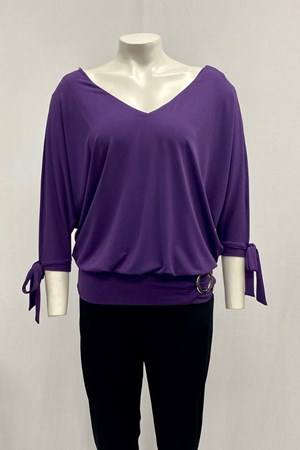 Izabella Soft Knit Tie Sleeve Detail And Buckle - Purple