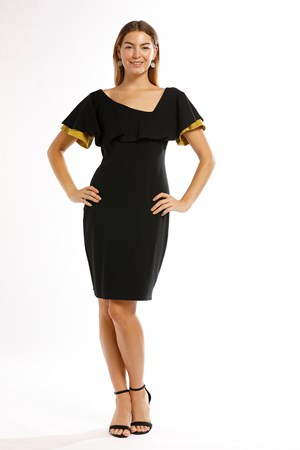 Ponti Frill Sleeve Dress with MUSTARD CONTRAST click to see RED CONTRAST