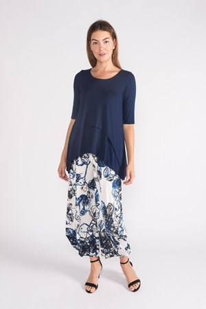 Kate Soft Knit Balloon Hem Pant - Blue