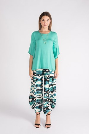 Kate Soft Knit Balloon Hem Pant - Green