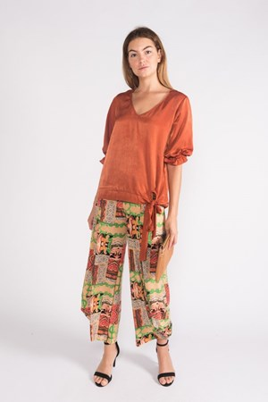 Kate Soft Knit Balloon Hem Pant -Orange