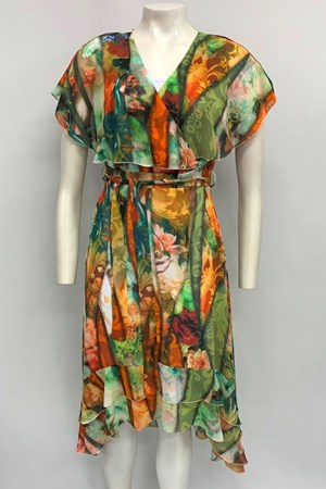 Rael Chiffon Dress - Floral Orange /Red /Green