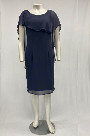 LIMITED Mel Chiffon Dress With Frill Overlay - Charcoal