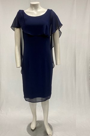 LIMITED Mel Chiffon Dress With Frill Overlay - Navy