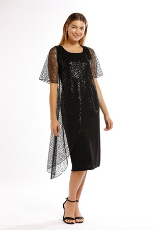 LIMITED Soft Knit with Sequin Mesh Dress