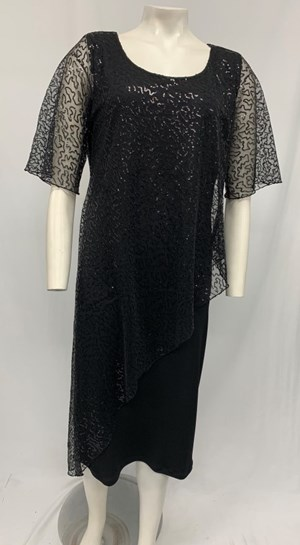 Soft Knit with Sequin Mesh Dress